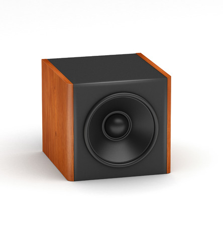 One red wooden soobwofer like speaker for  hi-fi audio system on white background photo