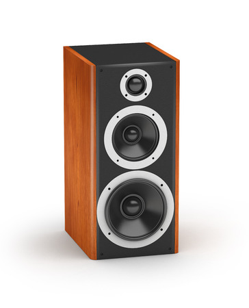 One brown wood tall three line speaker  hi-fi acoustic system on white background photo