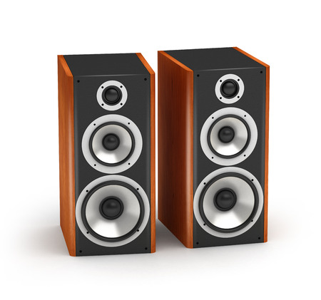 home audio: Set of red wooden  speakers tall stereo hi-fi audio system on white background