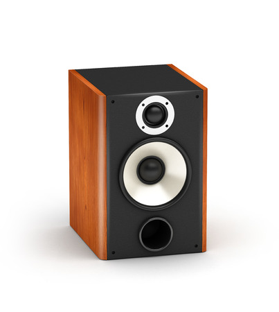 One brown wood speakers  hi-fi audio system on white background photo