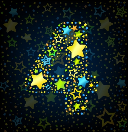 number 4: Number 4 cartoon kid style vector font with  colored  stars