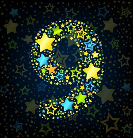 lullaby: Fuente vectorial Estilo de n�mero 9 del cabrito de la historieta con estrellas de colores