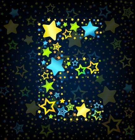 lullaby: E cartoon Carta fuente vectorial estilo del ni�o con estrellas de colores Vectores