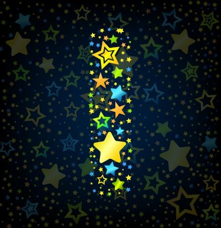 lullaby: Carta I de dibujos animados vector de la fuente del estilo del ni�o con estrellas de colores