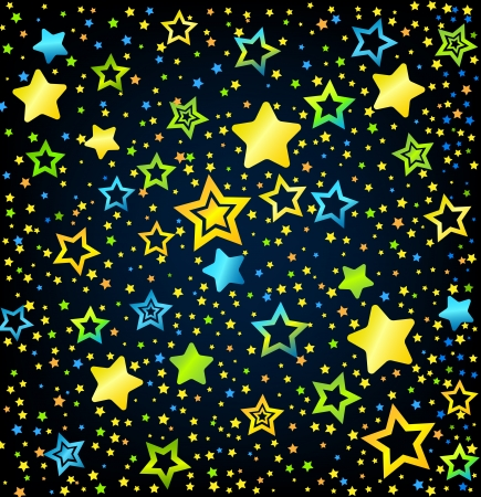 Cartoon kid style vector font with  colored  stars background Illustration