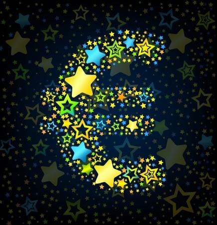 euro teken: Euro teken cartoon kid stijl vector lettertype met gekleurde sterren