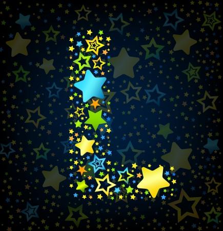 lullaby: Letra L de dibujos animados vector de la fuente del estilo del ni�o con estrellas de colores