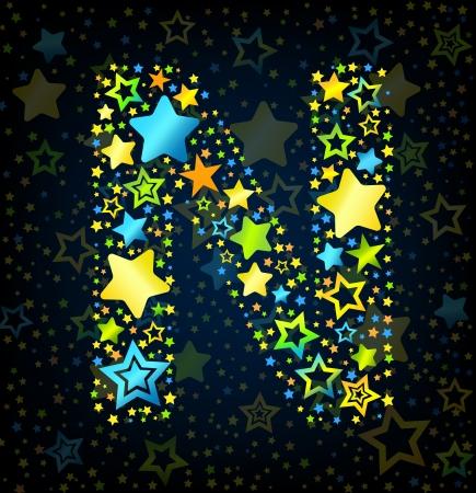 kid vector: Cartoon N Letter fuente vectorial estilo del niño con estrellas de colores Vectores
