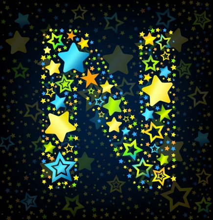 stars cartoon: Letter N cartoon kid style vector font with  colored  stars