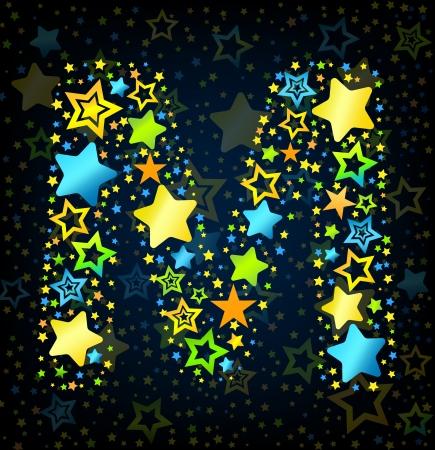 lullaby: Letra M de dibujos animados vector de la fuente del estilo del ni�o con estrellas de colores Vectores