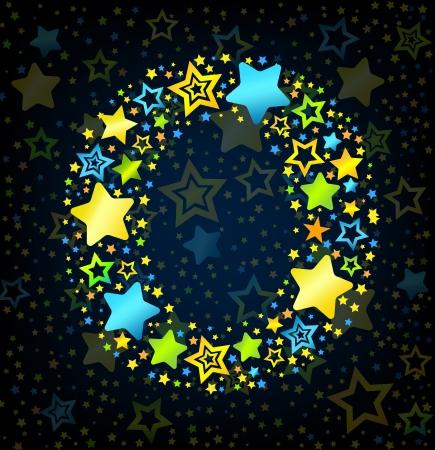 lullaby: Letra O de dibujos animados vector de la fuente del estilo del ni�o con estrellas de colores