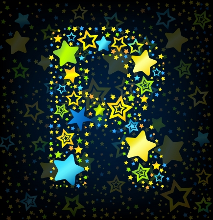 Letter R cartoon kid style vector font with  colored  stars Vector