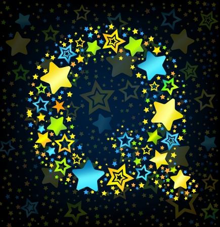 lullaby: Letra Q de dibujos animados vector de la fuente del estilo del ni�o con estrellas de colores Vectores