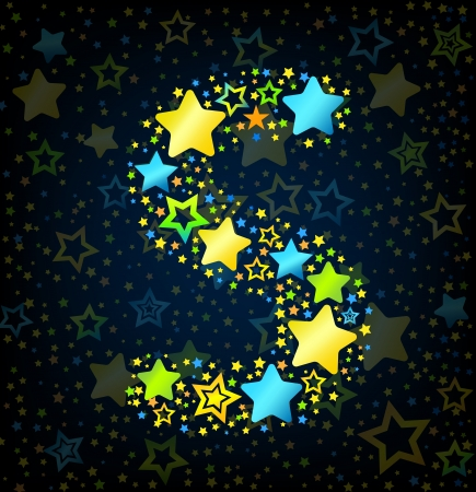 Letter S cartoon kid style vector font with  colored  stars Vector