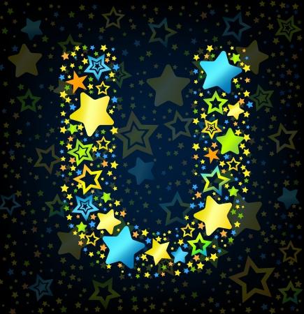 kid vector: Letra U de dibujos animados vector de la fuente del estilo del niño con estrellas de colores Vectores