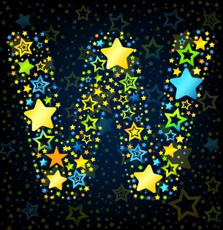 kid vector: Letra W de dibujos animados vector de la fuente del estilo del niño con estrellas de colores