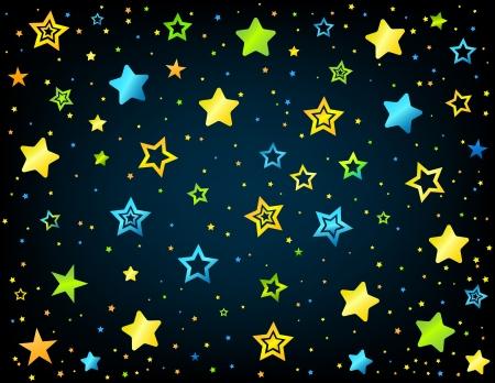 lullaby: Estilo del ni�o de la historieta estrellas de vectores de fondo
