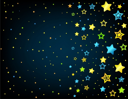 lullaby: Estilo de dibujos animados estrellas de vectores de fondo con copyspace izquierda