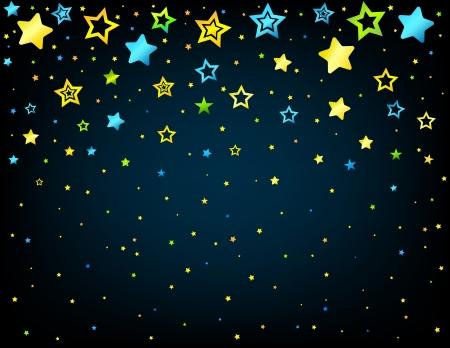 lullaby: Estilo de dibujos animados de vectores de fondo con estrellas de fondo copyspace