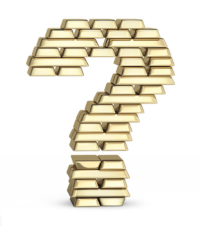 Question mark from stacked gold bars on white background photo