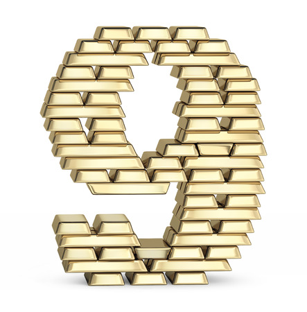 goldbar: Number 9 from stacked gold bars on white background