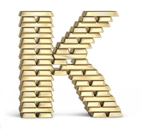letter k: Letter K from stacked gold bars on white background