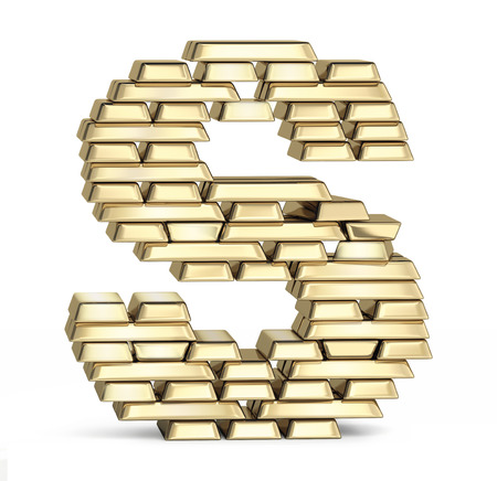 Letter S from stacked gold bars on white background photo