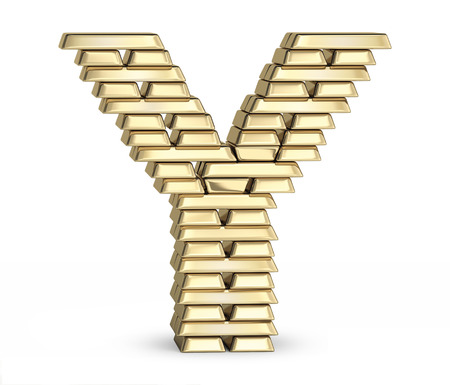golden font: Letter Y from stacked gold bars on white background Stock Photo