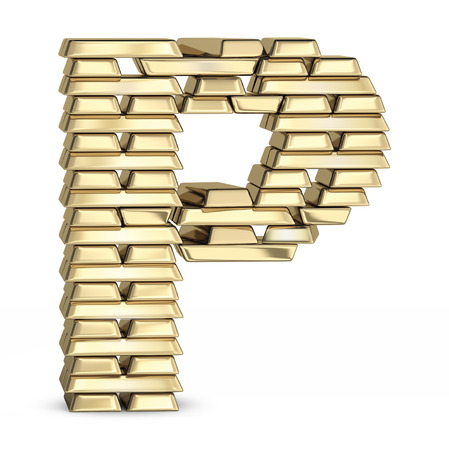 letter p: Letter P  from stacked gold bars on white