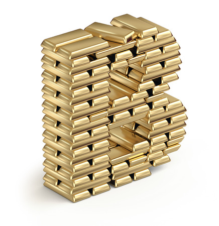 Letter B from stacked gold bars 3d in isometric on white