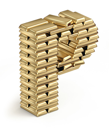 golden font: Letter P from stacked gold bars 3d in isometric on white Stock Photo