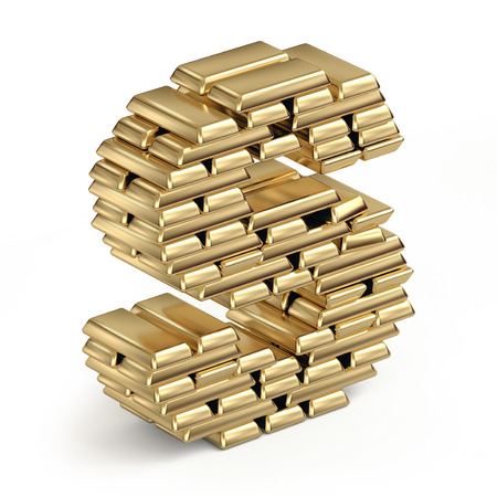 Letter S from stacked gold bars 3d in isometric on white photo