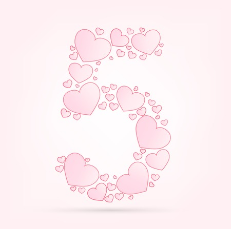 vector hearts: Number 5 love hearts valentine illustration vector font Illustration