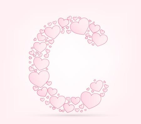 vector hearts: Letter C  love hearts valentine illustration vector font