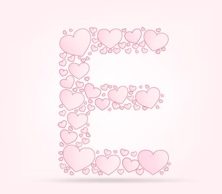 vector hearts: Letter E love hearts valentine illustration vector font