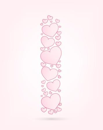 vector hearts: Letter I love hearts valentine illustration vector font
