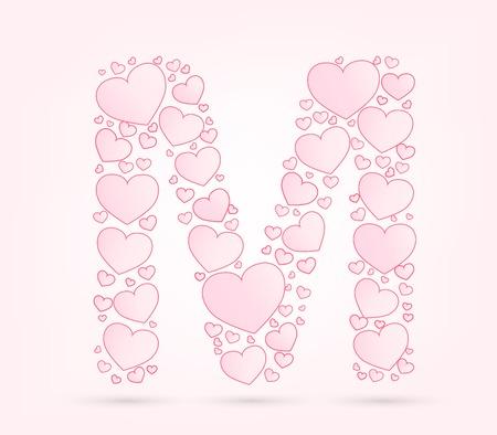 vector hearts: Letter M love hearts valentine illustration vector font Illustration