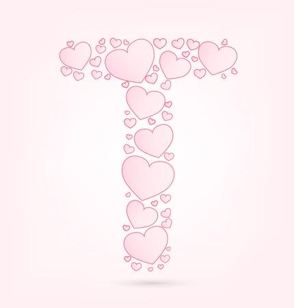 vector hearts: Letter T love hearts valentine illustration vector font Illustration