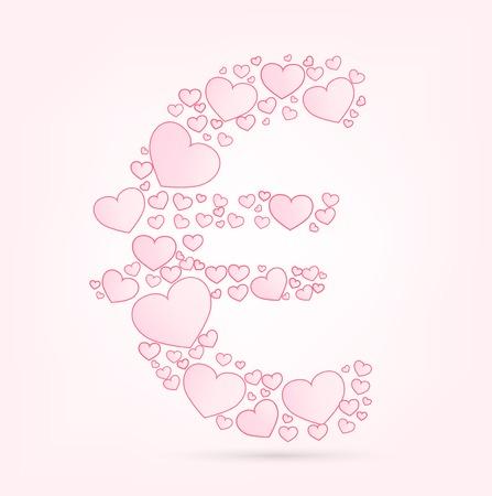 euro teken: Euro teken liefde harten valentijn illustratie vector lettertype