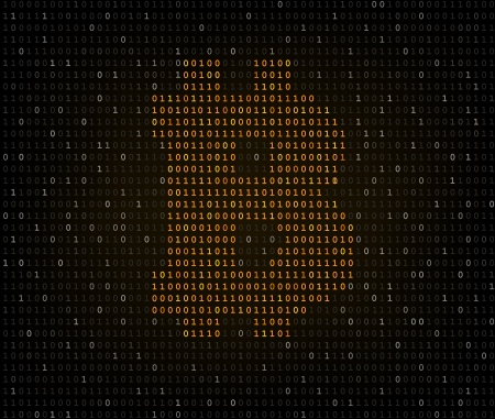 listing: Bitcoin golden currency symbol crypted in dark binary code listing