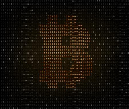listing: Bitcoin s�mbolo de moneda de oro encriptado en el listado de c�digo binario oscuro Vectores