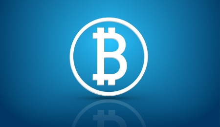 bit background: Bitcoin currency symbol icon on blue background