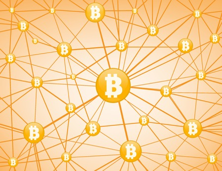 peering: Bitcoin currency system peering network links illustration background