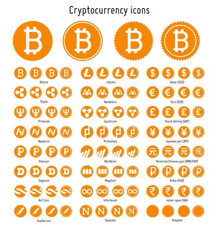 Bitcoin and other cryptocurrency vector symbols web icons  templates