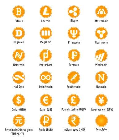 Cryptocurrency Diferente y símbolos iconos web de vector de divisas tradicionales Foto de archivo - 25960667