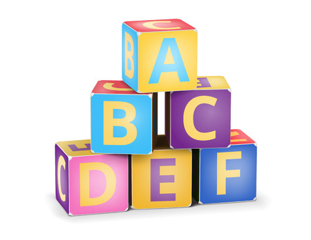 Vector A,B,C letters on pyramid stack alphabet cubes on white Vector