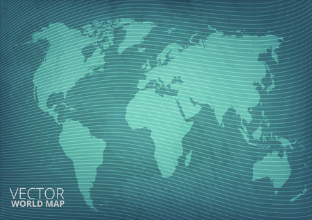 Blueprint grunge style green world map vector background with abstract waves Vector