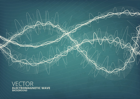elegantly: Blueprint style green radio waves vector background