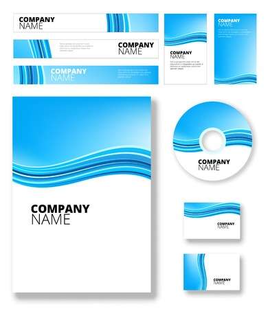 elegantly: Vertical blue software package background with abstract waves Illustration