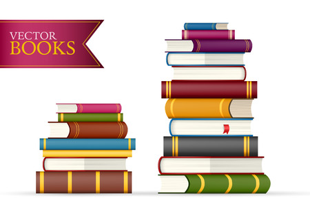Two stacks of multi colored books illustration Vector